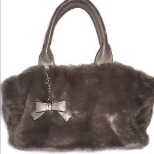 Faux Fur Grey Leather Bow Large Tote Hobo Handbag